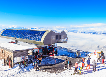 Upper lift station on top of the mountain  Hohe Salve. Ski resort  Soll, Tyrol, Austria Editorial