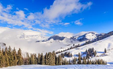 Mountains with snow in winter. Ski resort  Soll, Tyrol, Austria Stock Photo