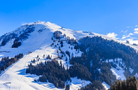 Mountain Hohe Salve with snow in winter. Ski resort  Soll, Tyrol, Austria