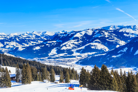 On the slopes of the ski resort Brixen im Thalef. Tyrol, Austria