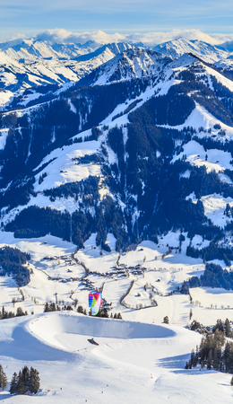 Mountains with snow in winter. Ski resor Brixen im Thalef. Tyrol, Austria Stock Photo
