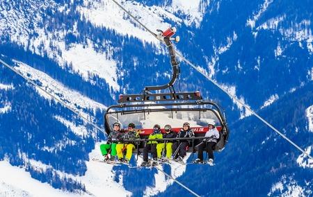 Ski lift.  Ski resort Brixen im Thalef. Tyrol, Austria Stock Photo