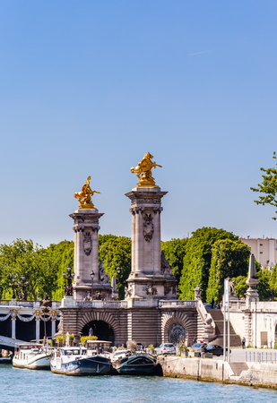 Fragment of the Alexander III Bridge across the Seine in Paris, France. View from the water Stock Photo