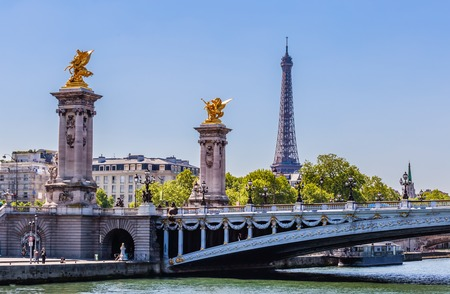 Alexander III Bridge across the Seine. Eiffel Tower.  Paris, France. View from the water
