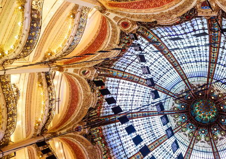 Paris, France, domed roof of the Galeries Lafayette department store in Paris Stok Fotoğraf - 93588994