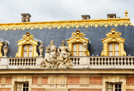 Fragment of the Marble Palace in the Palace of Versailles, France Imagens