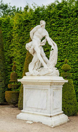 Samson Fighting With Lion. Statue In The Garden Of Versaille Palace. France  Stock Photo