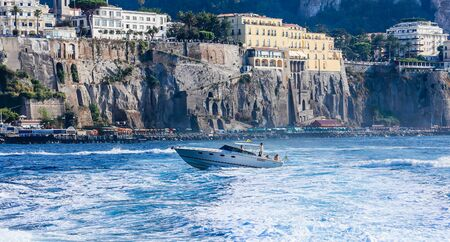 View of the coast in Sorrento, Italy. Editorial