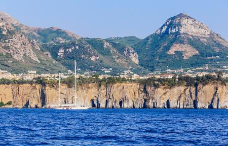 Motor yacht on the Amalfi Coast. Sorrento, Italy