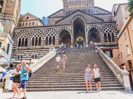 View of the Cathedral of St Andrea and the steps leading to it from the Piazza del Duomo. Amalfi, Italy