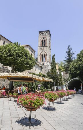 View of the town bell tower of Ravello, a reference point for all citizens. Amalfi Coast Italy Редакционное