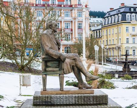 Johann Wolfgang Goethe statue, spa Marianske lazne, Czech republic Stockfoto