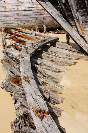 Shipwreck cemetery at the river Etel in Brittany. Magouer - Le Cimetiere de bateaux. France