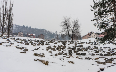 The Damaged OId Jewish Cemetery during siege of Sarajevo by Serbs. The second largest Jewish cemetery in Europe after Prague's Old Jewish Cemetery