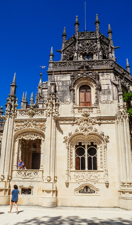 Fragment of the Palace in Quinta da Regaleira in Sintra, Portugal. Editorial