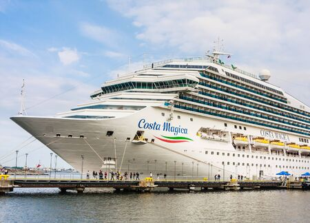Close-up of luxury cruise liner Costa Magica, the name of the ship is written on the starboard side, Port of Tallinn. Estonia