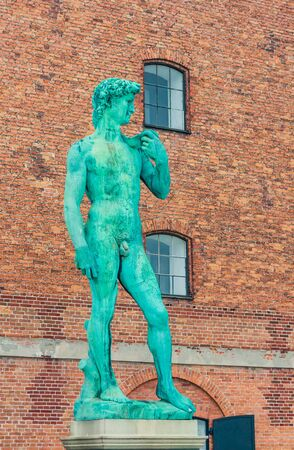 Replica of Michelangelo's statue of David outside The Royal Cast Collection building on Langelinie Promenade. Copenhagen. Denmark