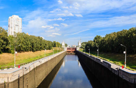 Gateway number 7 of the Channel named after Moscow in the Pokrovskoe-Streshnevo (Tushino) district of Moscow. View of river lock on the Moscow