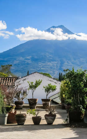View of Antigua Guatemala and the volcano near the city