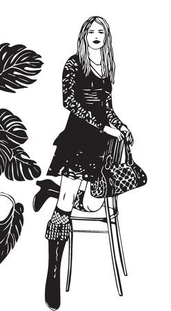 robe noire: fille de silhouette dans des bottes, une robe noire avec un sac, une fleur et une chaise
