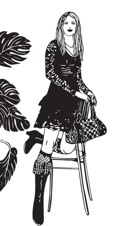 blonde teenager: silhouette girl in boots, a black dress with a bag, a flower and a chair