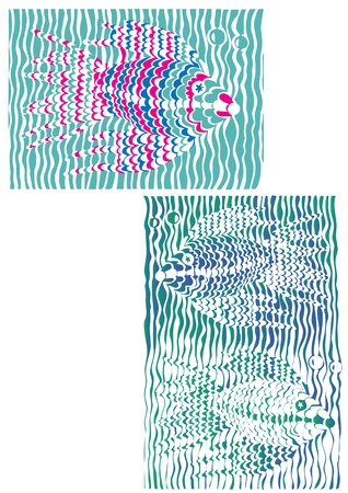 crucian carp: Fish in blue turquoise water of algae