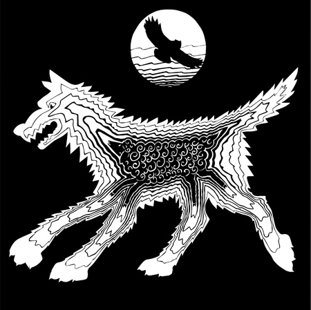 he wolf and the sheep at night in the moonlight. owl. silhouette Vector