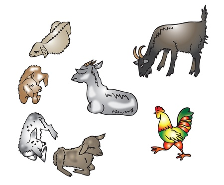 baby goat: beige, gray goats and kids and a bright cock in the barnyard Illustration