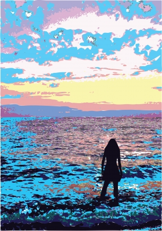 yelllow: Black silhouette of the girl at the sea of blue and pink on yellow pink sunset