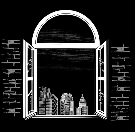 looking through an object: kind of semi-circular window at night city