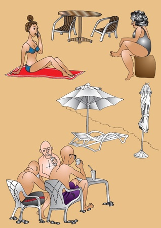 Men and women rests at the beach Vector