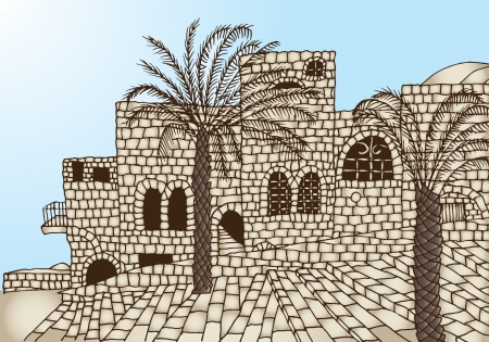 cobblestone street: gray-beige ancient stone houses, palm trees, stairs, sun