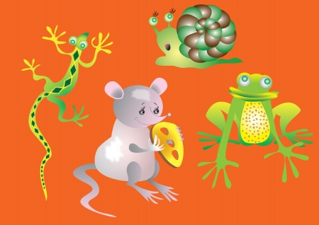 lizard, snail, rat, cheese, bread, frog, Vector