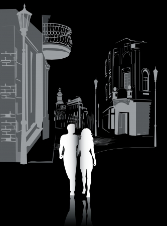 man and woman walking in black and white silhouettes Vector