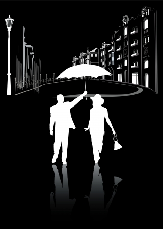 man and woman walking in the city at night in the rain  black and white silhouettes Vector