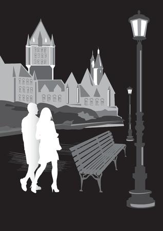 도시의 흑백 실루엣 걷는 남자와 여자 벡터 (일러스트)