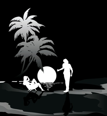 man and woman at the sea at night   black and white siluets Vector