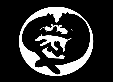 Fighting cats, mouse, dog, bird silhouette Vector