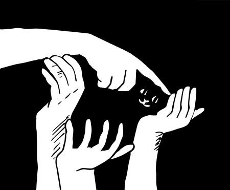 stroking: hands, stroking a kitten Illustration