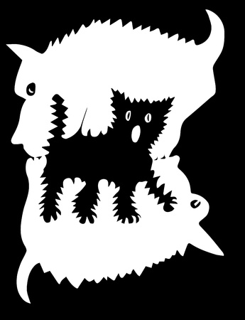 fight between two dogs, a cat between them, silhouettes Vector