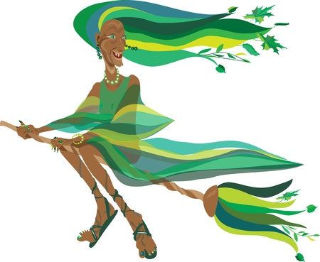 old witch in a green dress on a broom Vector