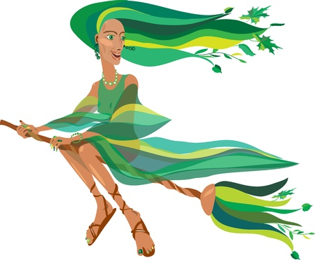 young beautiful witch in a green dress on a broom Vector