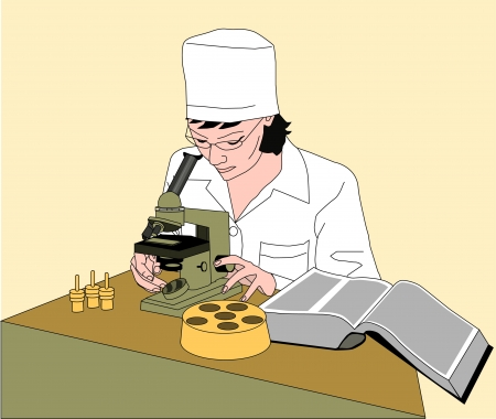 manual test equipment: doctor in laboratory whith microscope Illustration