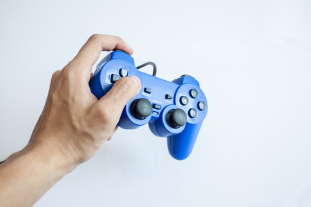 gamer: Video game console controller in gamer hands