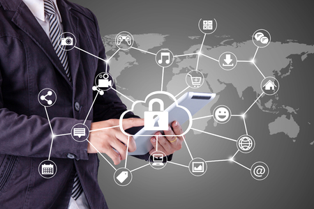 connection connections: Business man Hand touching  tablet pc, social media concept,Security Protection