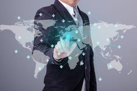 connection connections: Map pin flat network conection on world global Cartography Globalization Stock Photo