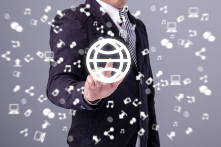 connection connections: Business man holding social media