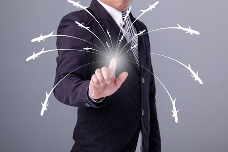 connection connections: Business man working with virtual interface use for Logistics