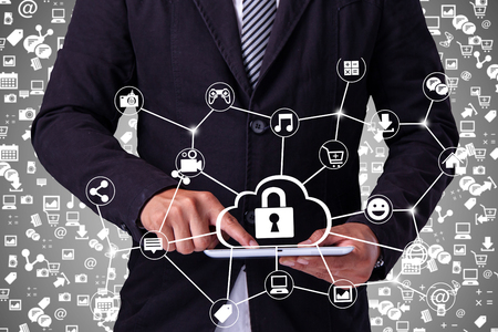 connection connections: Hand touching tablet pc, social media concept,Security Protection Stock Photo