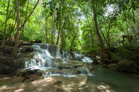 Huai Mae Khamin Waterfall in Kanchanaburi, Thailand Stock Photo